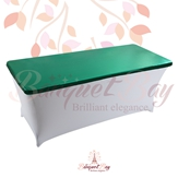 metallic Dark-Green Rectangle spandex table toppers