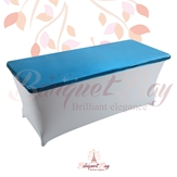 metallic Blue Rectangle spandex table toppers
