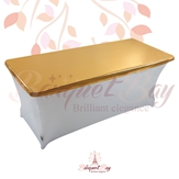 metallic Dark-Gold Rectangle spandex table toppers