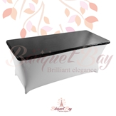 metallic Black Rectangle spandex table toppers