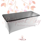 metallic Siver-Grey Rectangle spandex table toppers