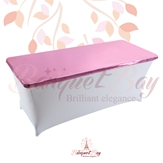 metallic Pink Rectangle spandex table toppers