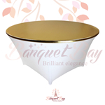 metallic Gold stretch round topper-Elastic spandex table topper