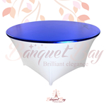 metallic Royal-Blue stretch round topper-Elastic spandex table t