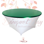 metallic Dark-Green stretch round topper-Elastic spandex table t