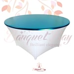 metallic Blue stretch round topper-Elastic spandex table topper