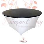 metallic Black stretch round topper-Elastic spandex table topper