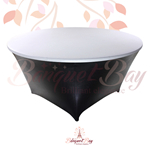 metallic White stretch round topper-Elastic spandex table topper
