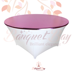 metallic Pink stretch round topper-Elastic spandex table topper