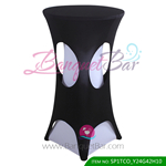 Black lycra cocktail table overlay highboy spandex