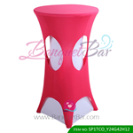 carmine lycra cocktail table overlay highboy spandex