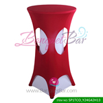burgundy lycra cocktail table overlay highboy spandex