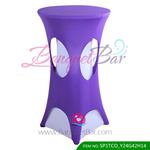 Cadbury-purple lycra cocktail table overlay highboy spandex