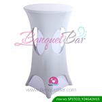 silver-grey lycra cocktail table overlay highboy spandex
