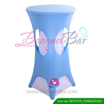 skyblue lycra cocktail table overlay highboy spandex