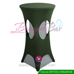 blackish-green lycra cocktail table overlay lycra