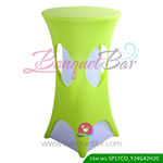 lime-green lycra cocktail table overlay highboy spandex