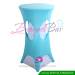 tiffany-blue lycra cocktail table overlay highboy spandex