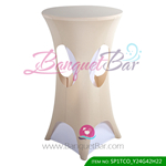light-champange lycra cocktail table overlay highboy spandex