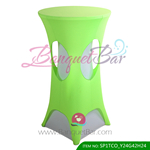 light-green lycra cocktail table overlay highboy spandex
