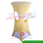 dark-champagne lycra cocktail table overlay highboy spandex