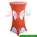 watermelon-red lycra cocktail table overlay highboy spandex