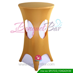 dark-golden lycra cocktail table overlay highboy spandex