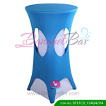 blue lycra cocktail table overlay highboy spandex