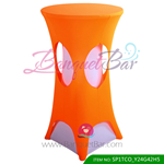 orange lycra cocktail table overlay highboy spandex