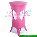 pink lycra cocktail table overlay highboy spandex