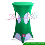 Dark-Green lycra cocktail table overlay highboy spandex