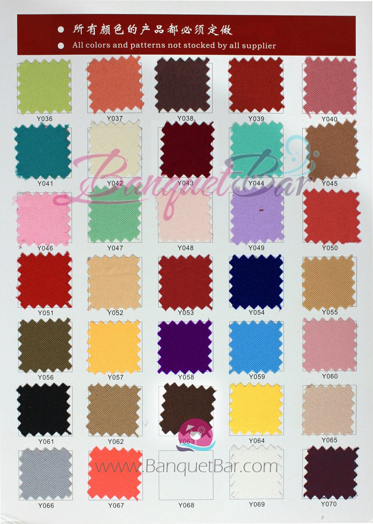 plain polyester color chart