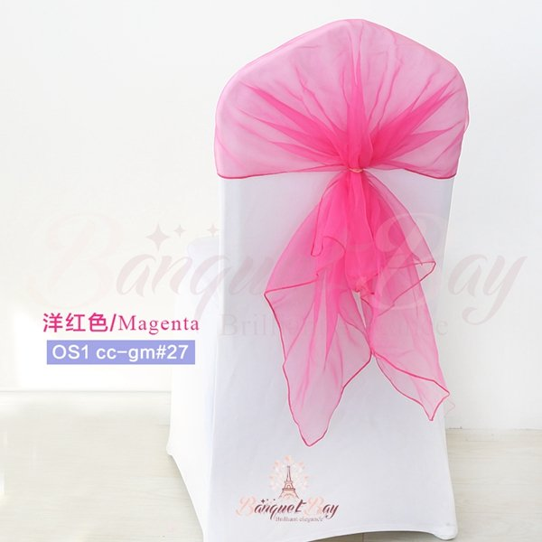 Magenta Organza Chair Cap For Wedding Banquet Back Cover Os1 Ccap Gm 27 0 80 Bar Spandex Tail Table Covers Stretch