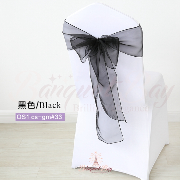 black crystal organza chair sash for wedding banquet chair back