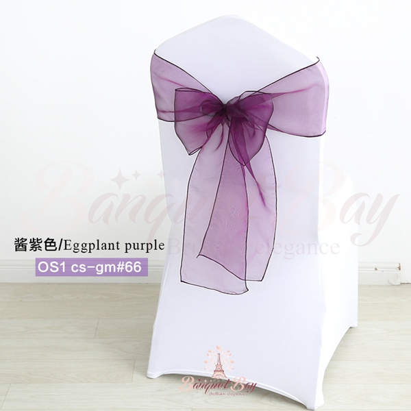 Marvelous Eggplant Purple Crystal Organza Chair Sash For Wedding Machost Co Dining Chair Design Ideas Machostcouk
