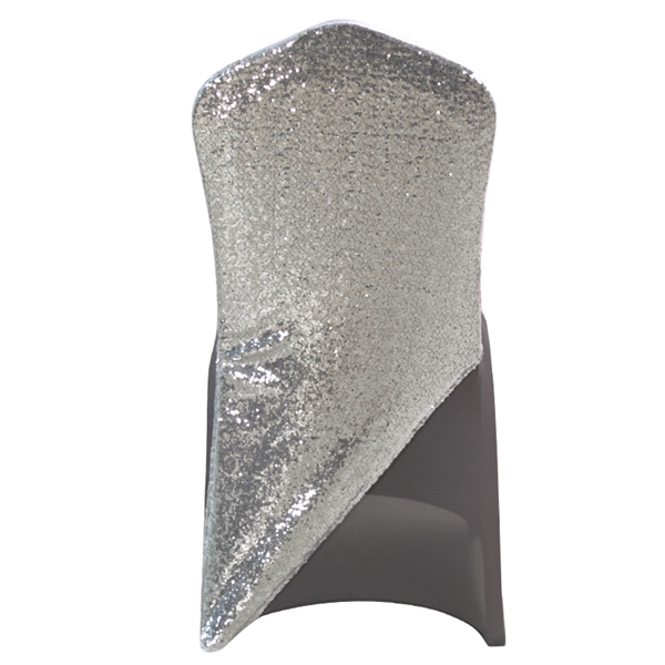 Sequined Silver Grey Spandex Chair Cap Cover Hat Suit Bag