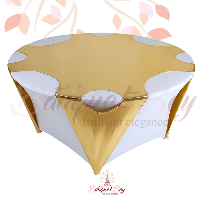 Gold Round Metallic Stretch Table Overlays [sp3tco_yH1]   $20.00 : Banquet  Bar Spandex Cocktail Table Covers,Stretch Chair Covers For Wedding,elastic  Lycra ...