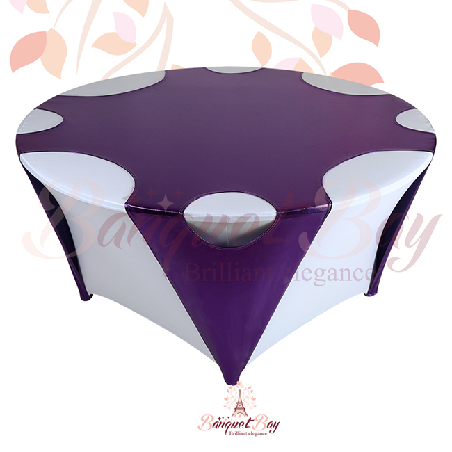Purple Round Metallic Stretch Table Overlays [sp3tco_yH6]   $20.00 :  Banquet Bar Spandex Cocktail Table Covers,Stretch Chair Covers For  Wedding,elastic ...